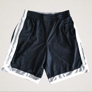 Men's Black&Silver Reversible Basketball Shorts L